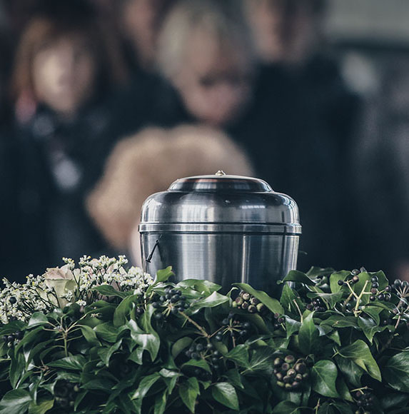 Metal Urn At A Funeral