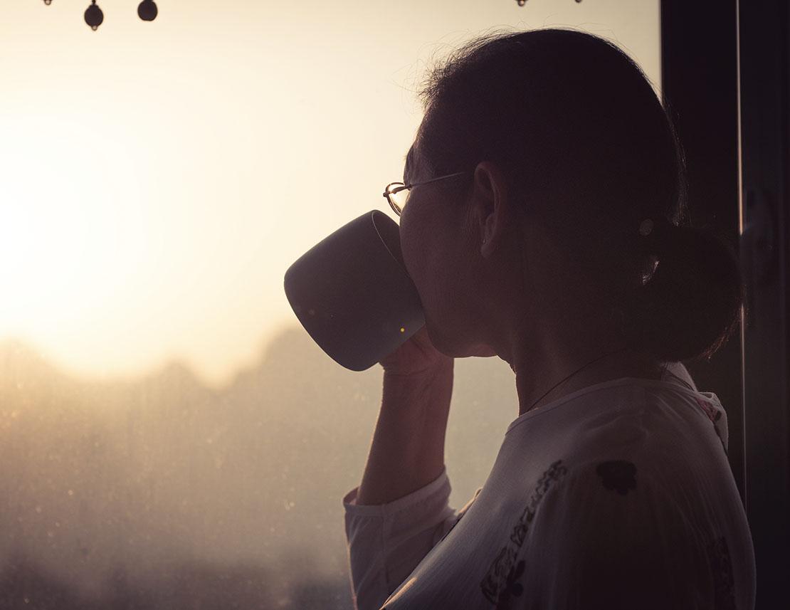 Senior Woman Enjoy The Good Tea Time